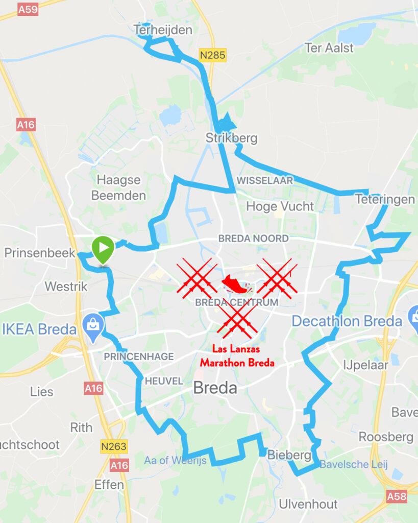 Alternatieve route Las Lanzas Marathon Breda